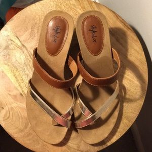 Style & Co Shoes - Style & Co brown and gold size 10 heeled sandals